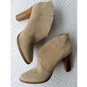 Daniblack Anthropologie Cream Suede Booties - 9